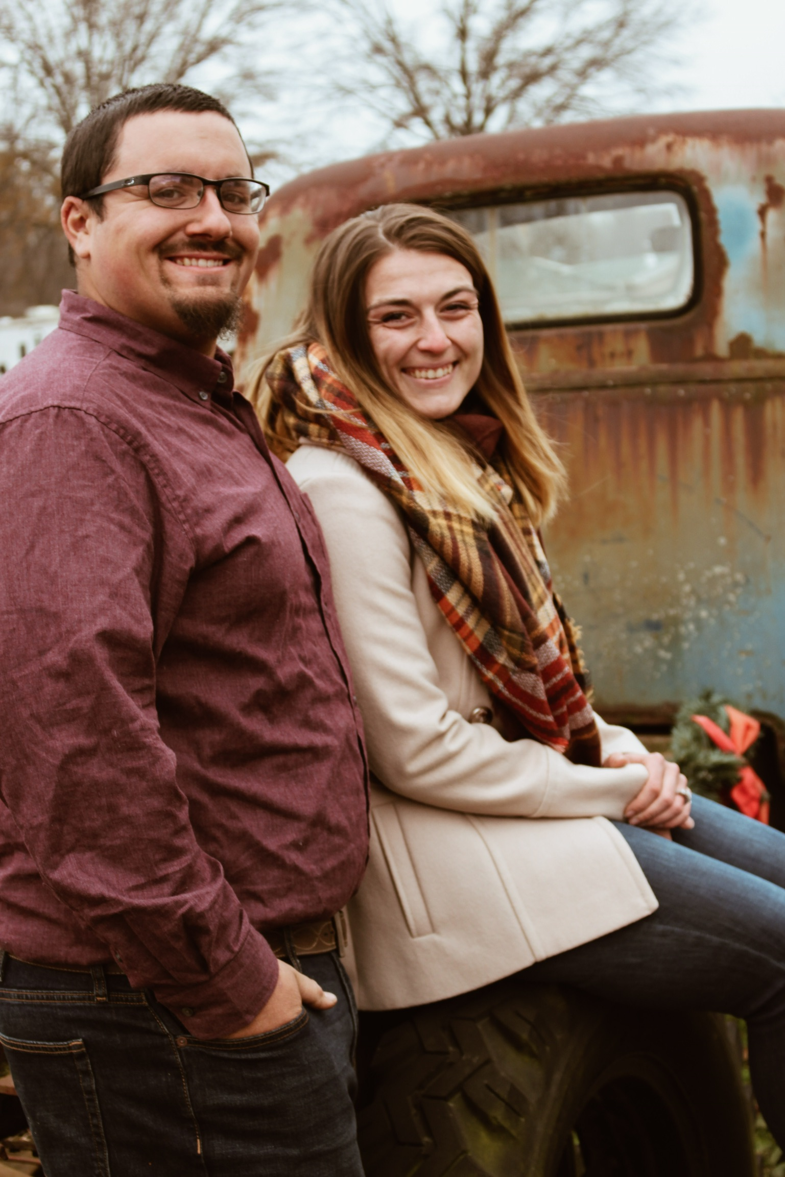 will & ariel engagement 2018 on old truck